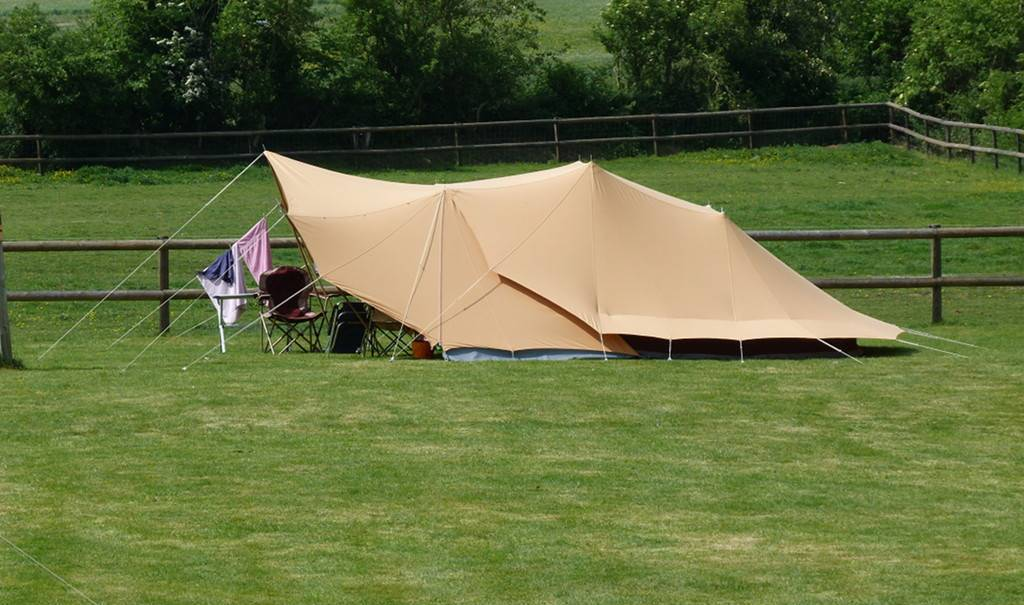 Large tent pitched up.